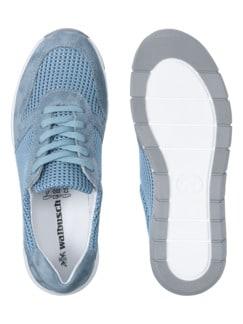 Materialmix-Sneaker Himmelblau Detail 2