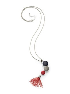 Langkette Kugelanhänger Silber/Rot/Marine Detail 1