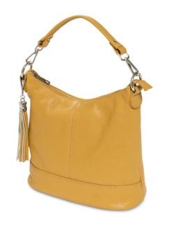 Lederhandtasche Standfest Safran Detail 1