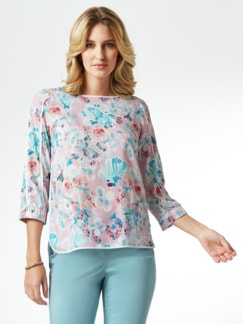 Viskose Shirtbluse Sommerleicht Geblümt Rose Detail 1