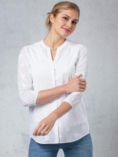 Lochstickerei-Bluse Weiß Detail 1
