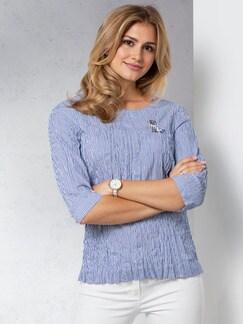 Shirtbluse Reisefertig Blau/Weiß Detail 1