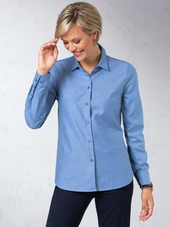 Flanellbluse Supersoft Blau Detail 1