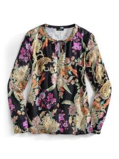 Viskose Shirtbluse Blüten Multicolor Detail 2