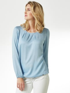 Viskose-Shirtbluse Hellblau Detail 1