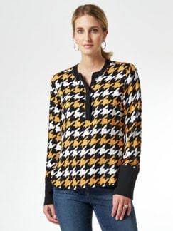Shirtbluse Hahnentritt Schwarz/Gelb Detail 1