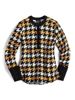 Shirtbluse Hahnentritt Schwarz/Gelb Detail 3