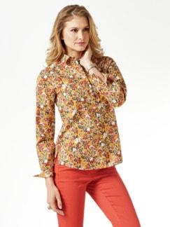 Extraglatt-Hemdbluse Everyday Floral Safran/Rostorange Detail 1