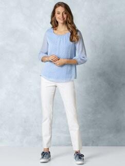2in1 Tupfen-Shirtbluse Blau mit Tupfen Detail 4