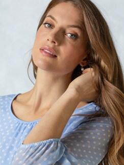 2in1 Tupfen-Shirtbluse Blau mit Tupfen Detail 3