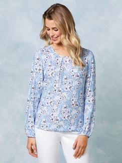 Blouson Shirtbluse Blau/Weiß Geblümt Detail 1