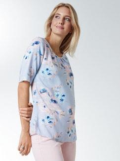 Shirtbluse Pastellblüten Blau geblümt Detail 1