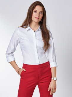 Extraglatt Pima-Cotton Hemdbluse Weiß Detail 1