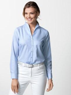 Extraglatt-Bluse Kelchkragen Blau Detail 1