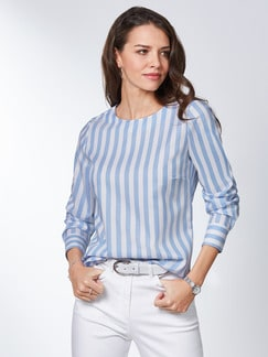 Extraglatt Pima Cotton Shirtbluse Skyblue Detail 1