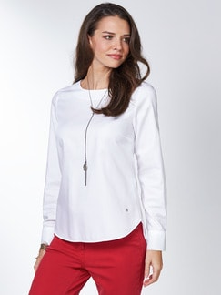 Extraglatt Pima-Cotton Shirtbluse Weiß Detail 1