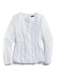 Shirtbluse Rosettenstickerei Weiß Detail 3