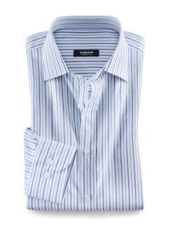 Masterclass-Vollzwirn-Hemd Streifen Bleu/Weiß Detail 1