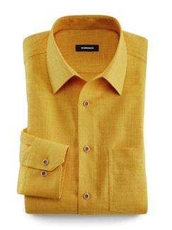 Freizeit-Hemd Reiseleinen Gelb Detail 1