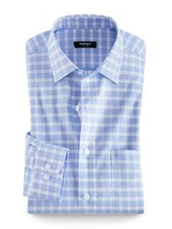 30-Grad-Business-Hemd Blau/Weiß kariert Detail 1