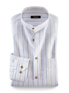 Stehkragen-Leinenhemd Streifen Beige/Blau Detail 1