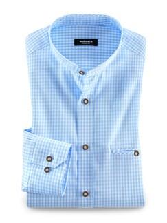 Stehkragen Alpen-Shirt Vichykaro Blau Detail 1