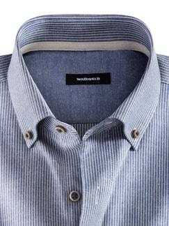 Baumwoll-Seiden-Hemd Streifen Blau Detail 3