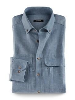 10-Taschen-Safarihemd Blau Detail 1