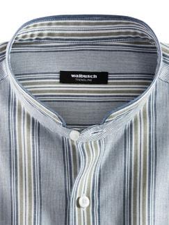 Stehkragen Havanna-Shirt Blau/Khaki Detail 3