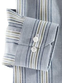 Stehkragen Havanna-Shirt Blau/Khaki Detail 4
