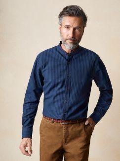 Denim-Stehkragenhemd