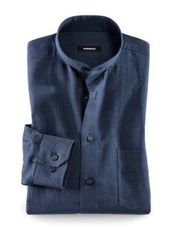 Stehkragen-Leinenhemd Blau Detail 1