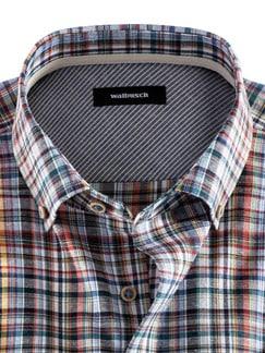 Baumwoll-Seiden-Hemd Streifenkaro Detail 3