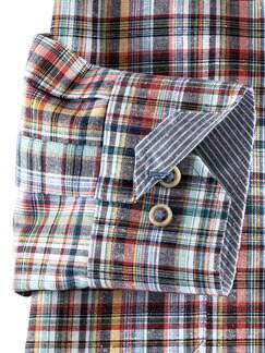 Baumwoll-Seiden-Hemd Streifenkaro Detail 4