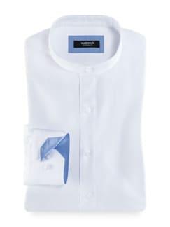Extraglatt Stehkragen-Hemd Weiß Detail 1
