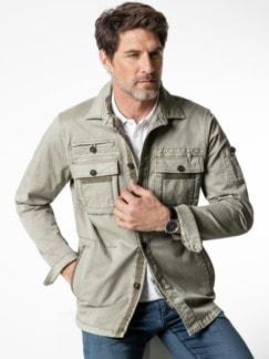 Hemdjacke Garment Dyed Khaki Detail 2