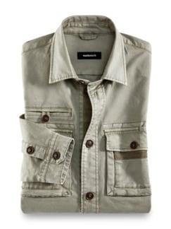 Hemdjacke Garment Dyed Khaki Detail 1