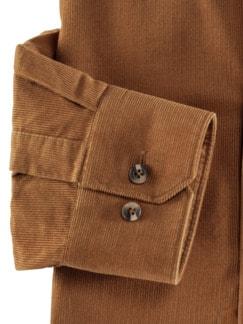Microcord-Hemd Uni Cognac Detail 4