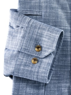 10-Taschen-Safarihemd Uni Blau Detail 4