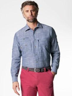 10-Taschen-Safarihemd Uni Blau Detail 2