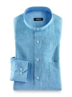 Stehkragen-Leinenhemd Aqua Detail 1