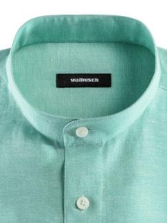 Stehkragen-Leinenhemd Grün Detail 3