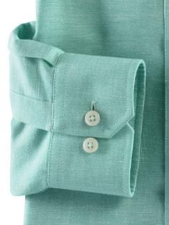 Stehkragen-Leinenhemd Grün Detail 4