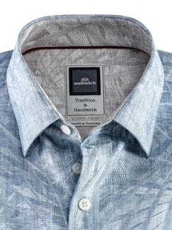 Kunstdruck-Hemd Blau Detail 4