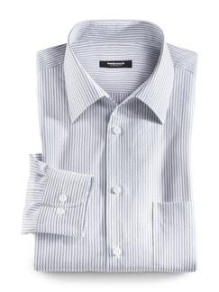 Extraglatt-Hemd Walbusch-Kragen Streifen Grau Detail 1