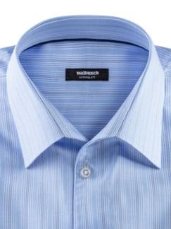 Extraglatt-Hemd Naturstretch Streifen Blau Detail 3