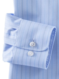 Extraglatt-Hemd Naturstretch Streifen Blau Detail 4