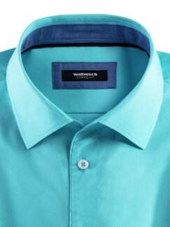 Extraglatt-Hemd Walbusch-Kragen Uni Aqua Detail 3