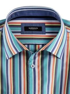 Extraglatt-Hemd Walbusch-Kragen Streifen Aqua Detail 3