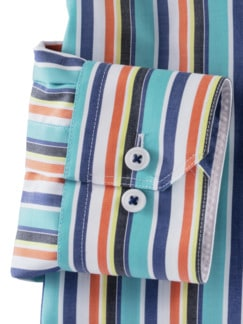 Extraglatt-Hemd Walbusch-Kragen Streifen Aqua Detail 4